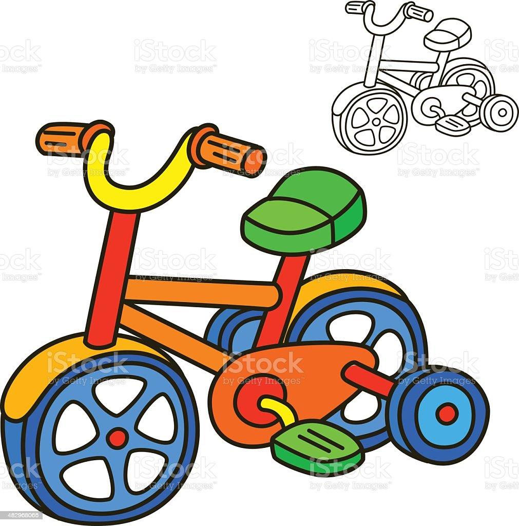 Bicicleta Libro Para Colorear Página Ilustración Vectorial De ...