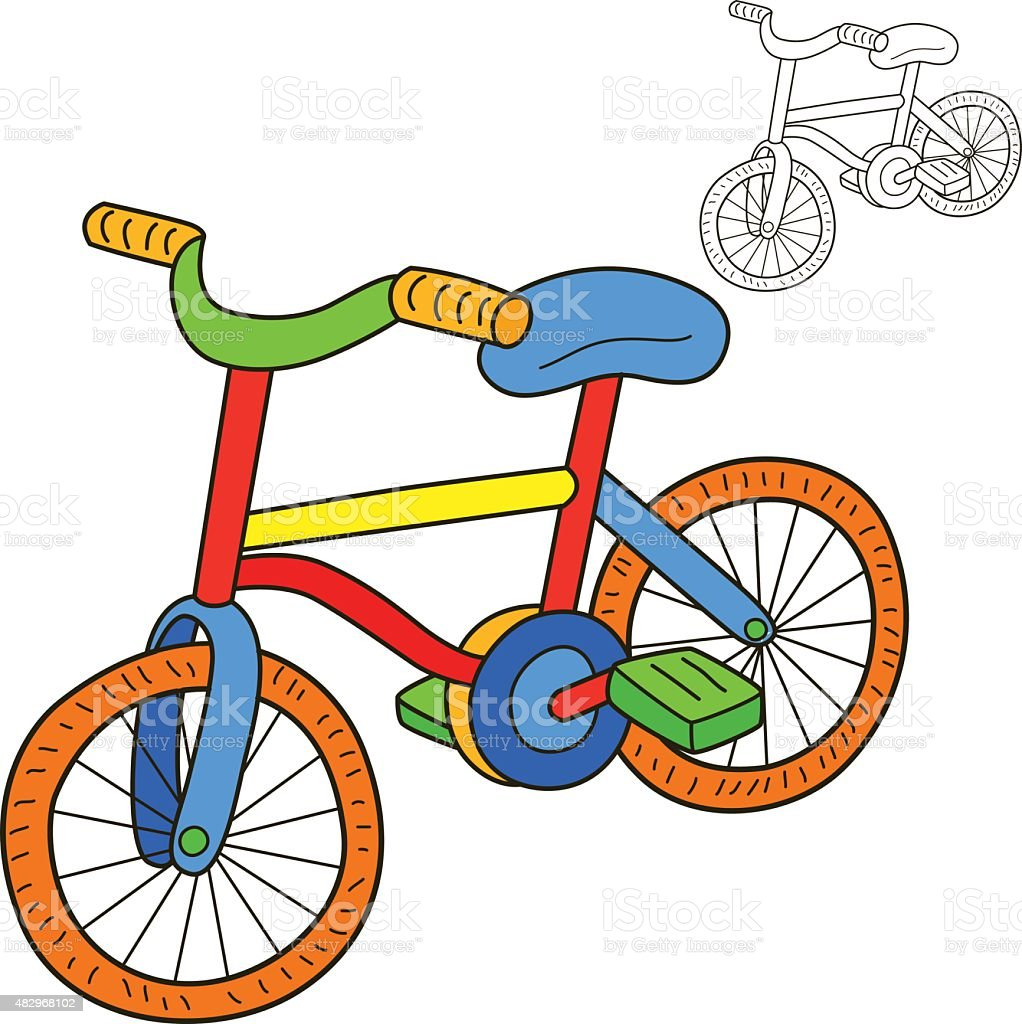 Bicicleta Libro Para Colorear Página Ilustración Vectorial ...