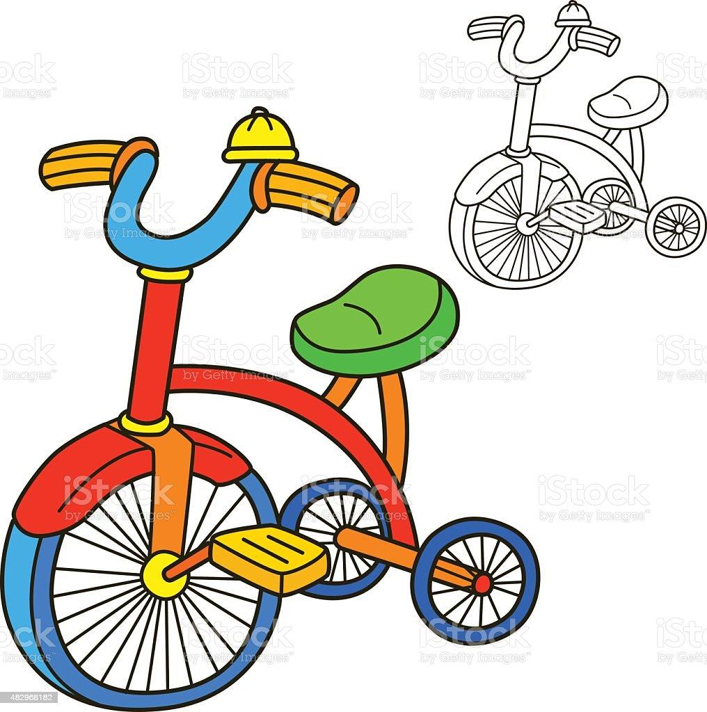 Ilustración de Bicicleta Libro Para Colorear Página Ilustración ...