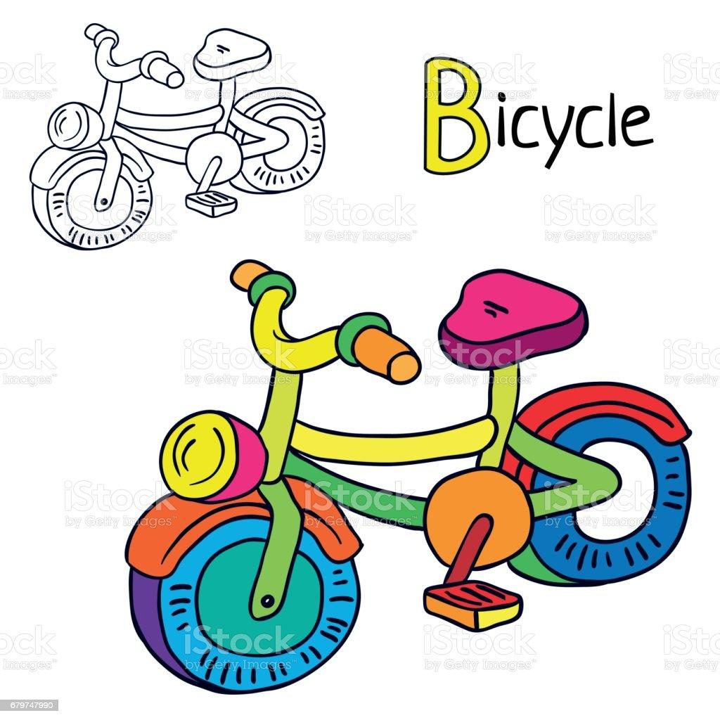 Ilustración de Bicicleta Página De Libro Para Colorear Ilustración ...