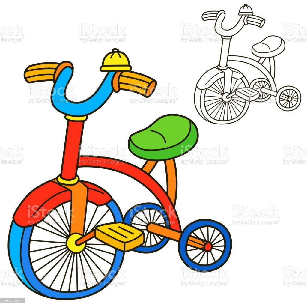 Bisiklet Boyama Kitabı Sayfası çizgi Film Vektör çizim Stok Vektör
