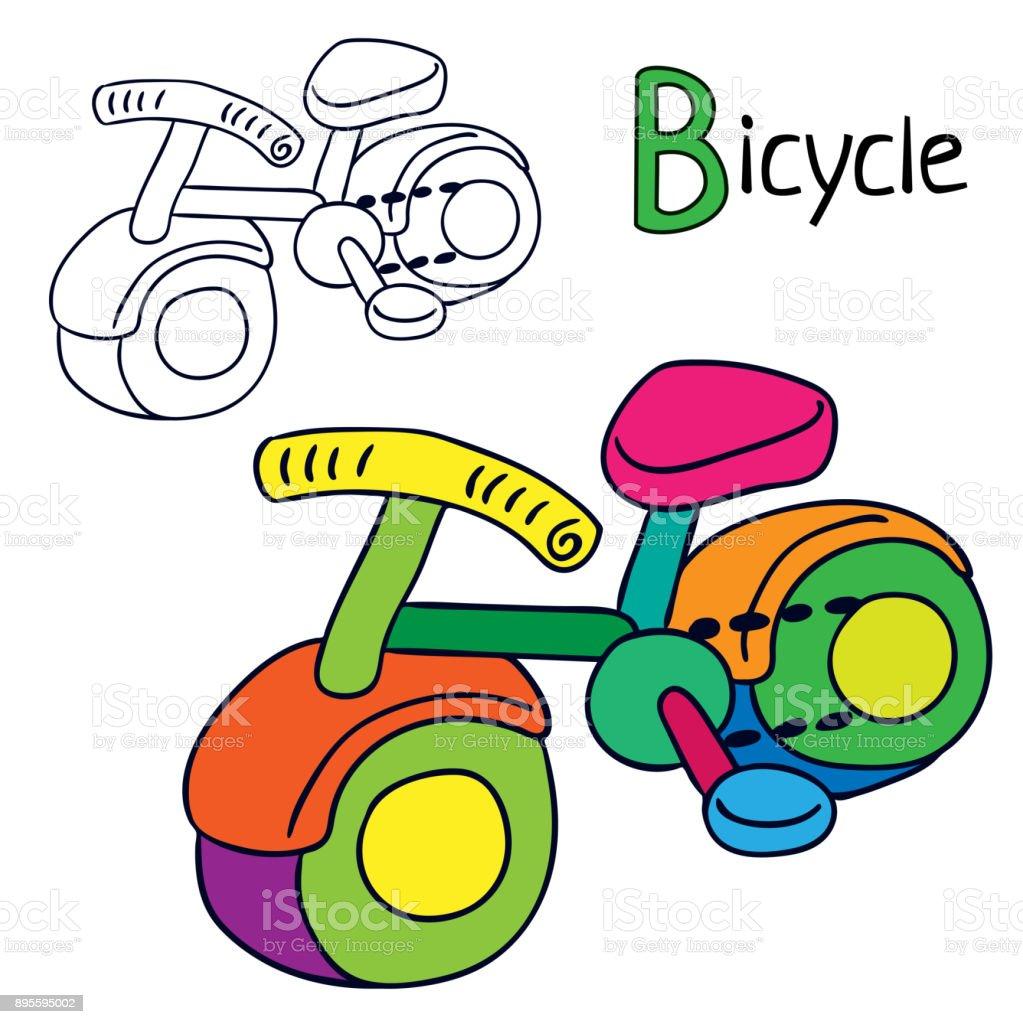 Bisiklet Boyama Kitabı Sayfası Stok Vektör Sanatı Animasyon