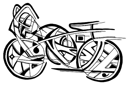 Abstract Bike Coloring Page