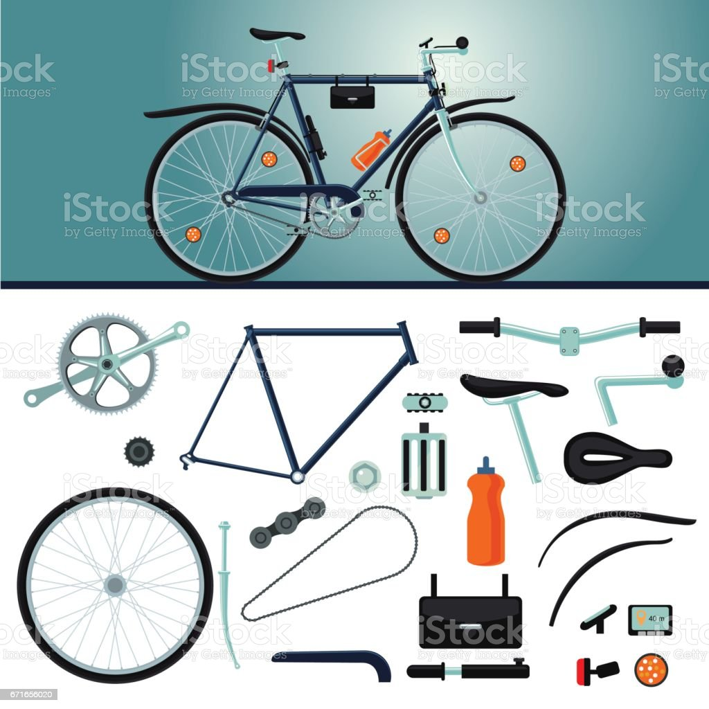 Bicycle Constructor Realistic Bike And Parts Details Set Stock