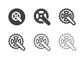 Bicycle Crankset Icons Multi Series Vector EPS File.