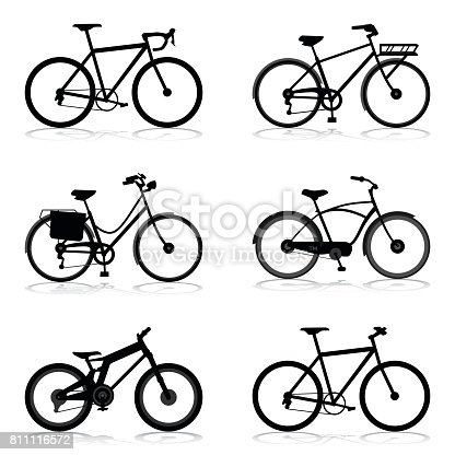 Bicycle silhouettes in different style. Vector illustration.