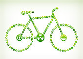 Bicycle Environmental Conservation Green Vector Button Pattern. This vector collage has green round buttons arrange in seamless patter. Individual iconography on the buttons shows numerous green environmental conservation symbols. The individual icons include recycling symbol, energy, light bulb, trees, leaves, clean water drop and people caring about our planet.