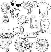 Bicycle equipment in line art style, black and white