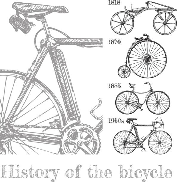 bicycle evolution set - bike stock illustrations, clip art, cartoons, & icons
