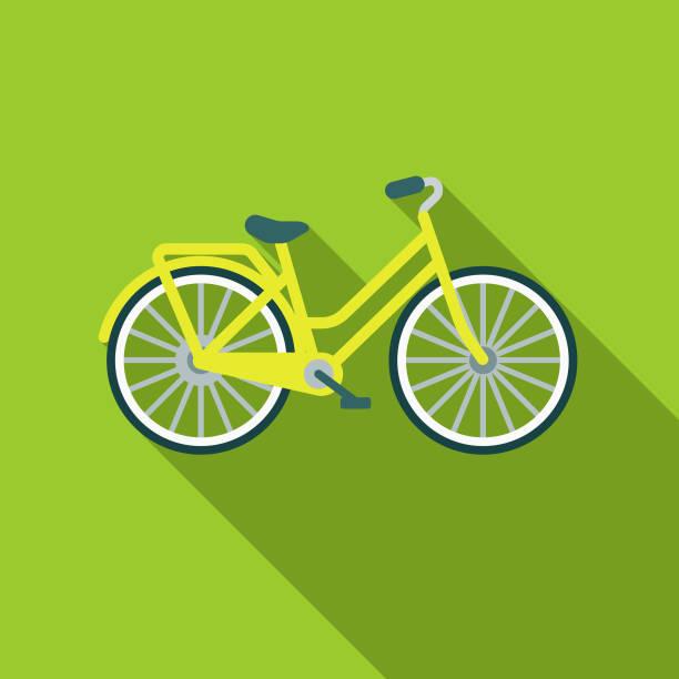 ilustraciones, imágenes clip art, dibujos animados e iconos de stock de bicicleta diseño plano icono ambiental - andar en bicicleta