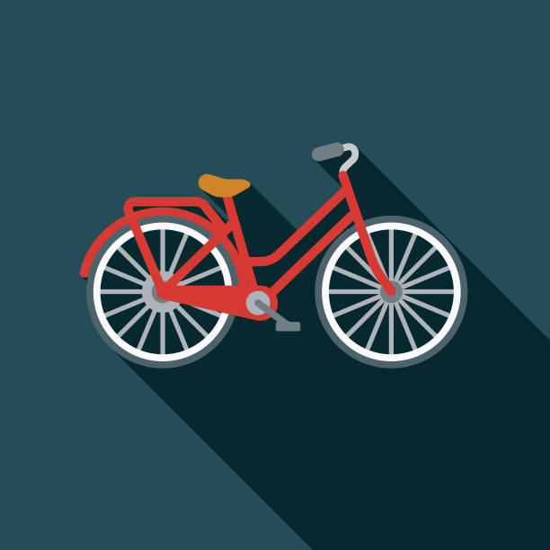 Bicycle Flat Design Summer Icon with Side Shadow A colored flat design summer and beach icon with a long side shadow. Color swatches are global so it's easy to edit and change the colors. beach clipart stock illustrations