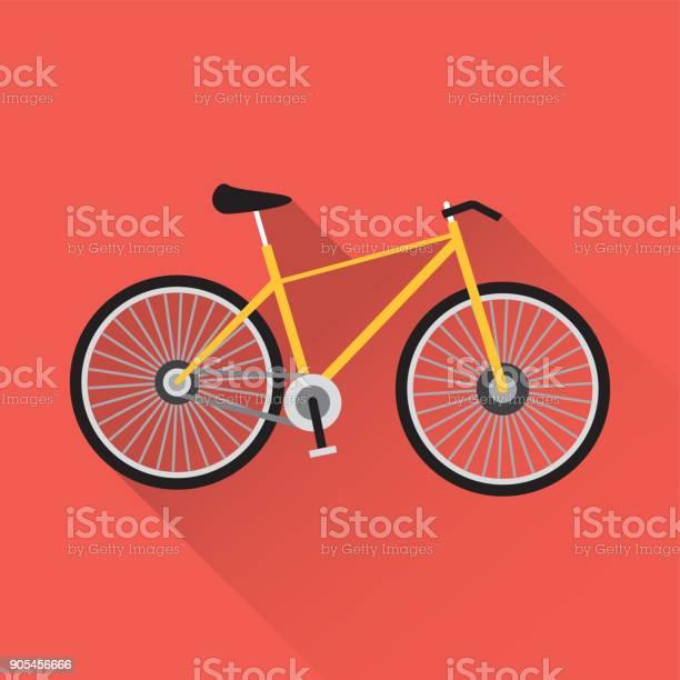 Bicycle Flat Icon - Arte vetorial de stock e mais imagens de Ao Ar Livre