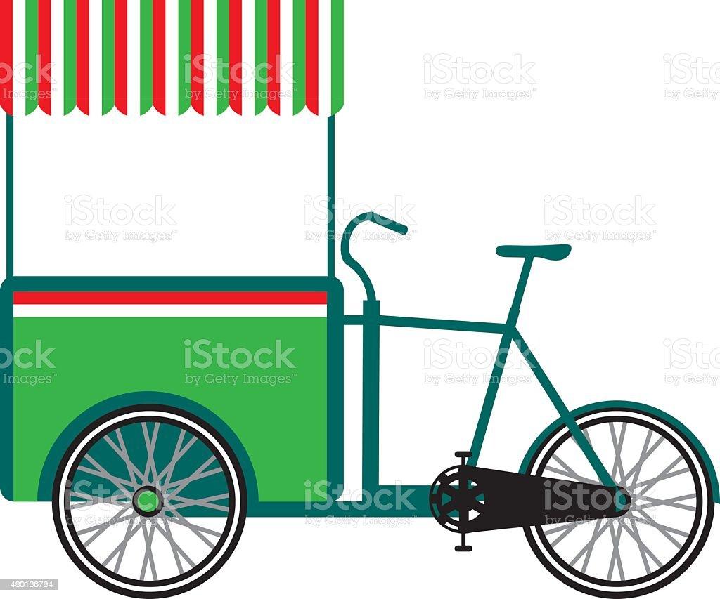 Bicycle food cart vector art illustration