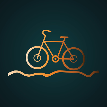 Bicycle for the off-road icon vector logo. Gradient gold concept