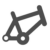 istock Bicycle frame solid icon, bicycle parts and accessories concept, bike frame sign on white background in glyph style for mobile concept and web design. Vector graphics. 1251985478