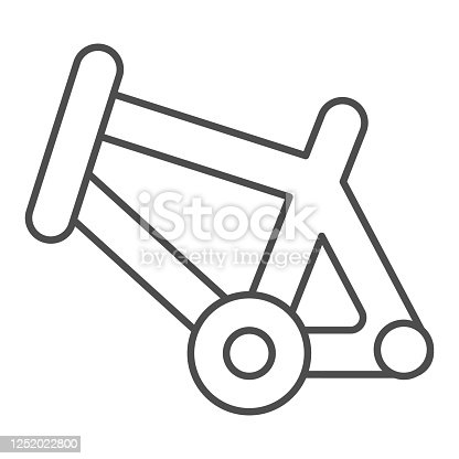 istock Bicycle frame thin line icon, bicycle parts and accessories concept, bike frame sign on white background in outline style for mobile concept and web design. Vector graphics. 1252022800