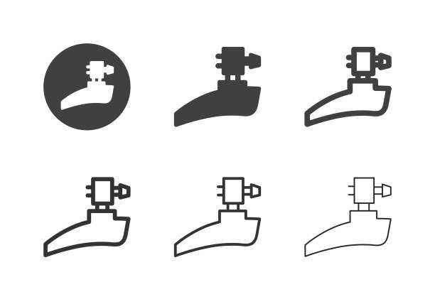 bildbanksillustrationer, clip art samt tecknat material och ikoner med cykel främre derailleur ikoner-multi-serien - derail