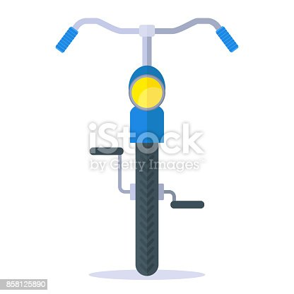 City old fashioned bike front view. Flat vector cartoon illustration. Objects isolated on a white background.