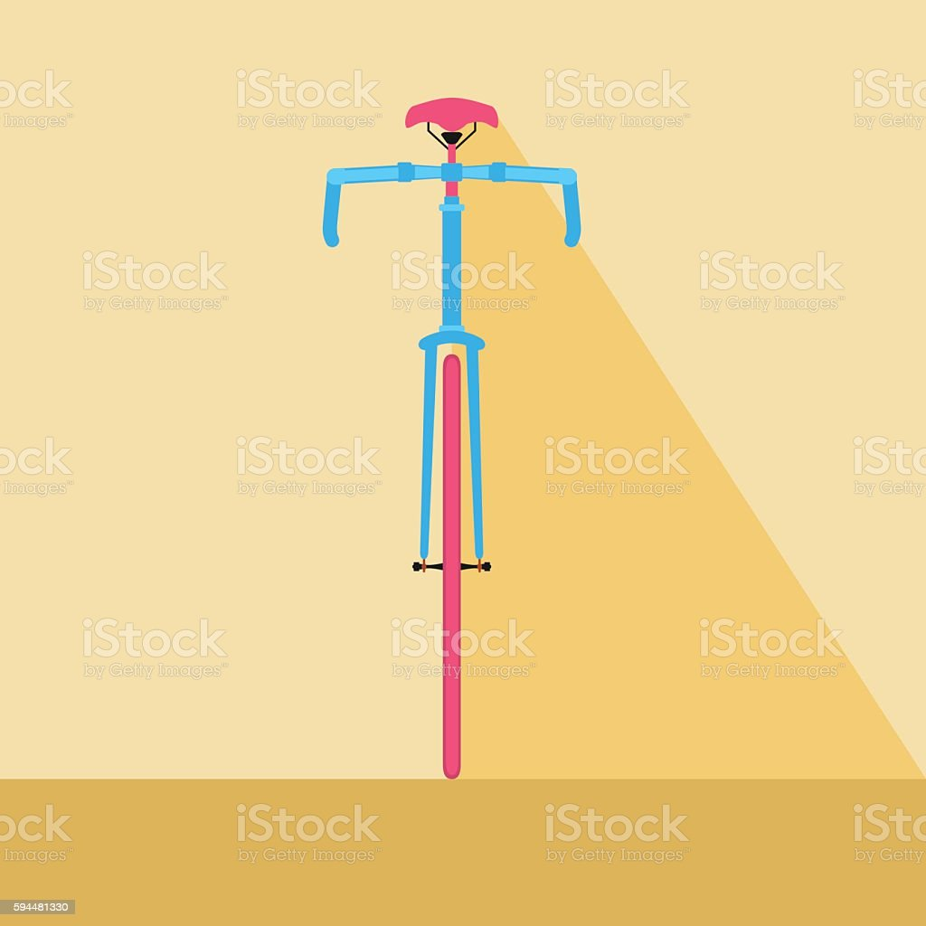 Bicycle front view. Flat design style bicycle. vector art illustration