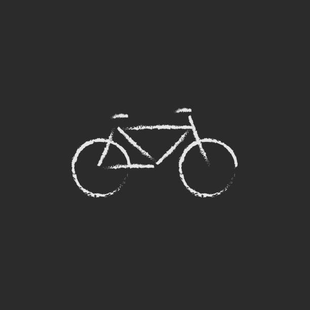 Bicycle icon drawn in chalk vector art illustration