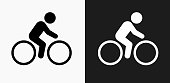 Bicycle Icon on Black and White Vector Backgrounds. This vector illustration includes two variations of the icon one in black on a light background on the left and another version in white on a dark background positioned on the right. The vector icon is simple yet elegant and can be used in a variety of ways including website or mobile application icon. This royalty free image is 100% vector based and all design elements can be scaled to any size.