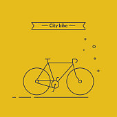 Minimalistic Outline Illustration of Bicycle. Stylish bike on yellow background isolated. City bike concept. Vector flat linear style.