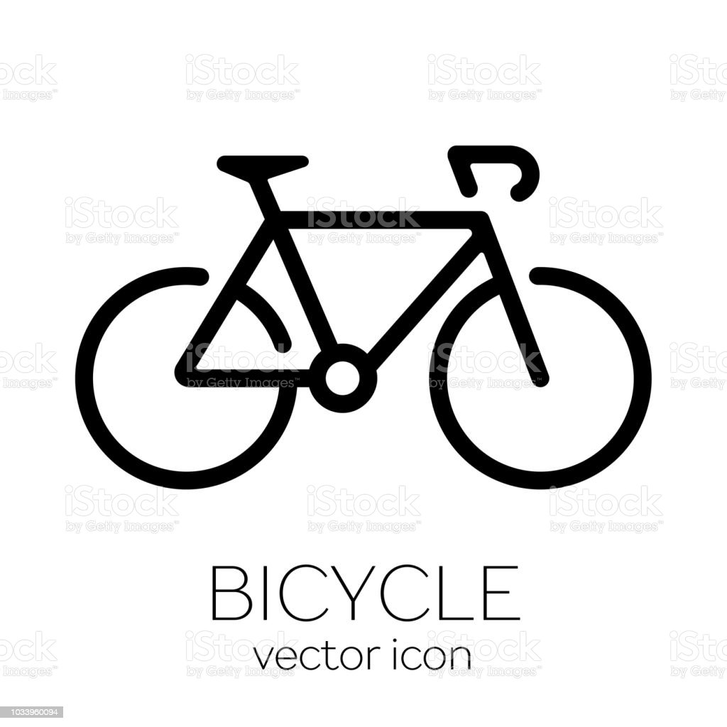 Bicycle icon on white background vector art illustration