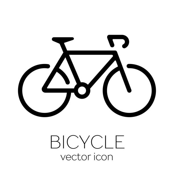 bicycle icon on white background - bike stock illustrations, clip art, cartoons, & icons