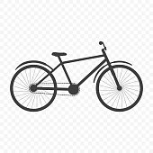 Bicycle icon. Partially detailed image. Vector on transparent background.