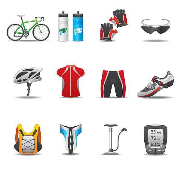 Bicycle Icon Set | Elegant Series vector art illustration
