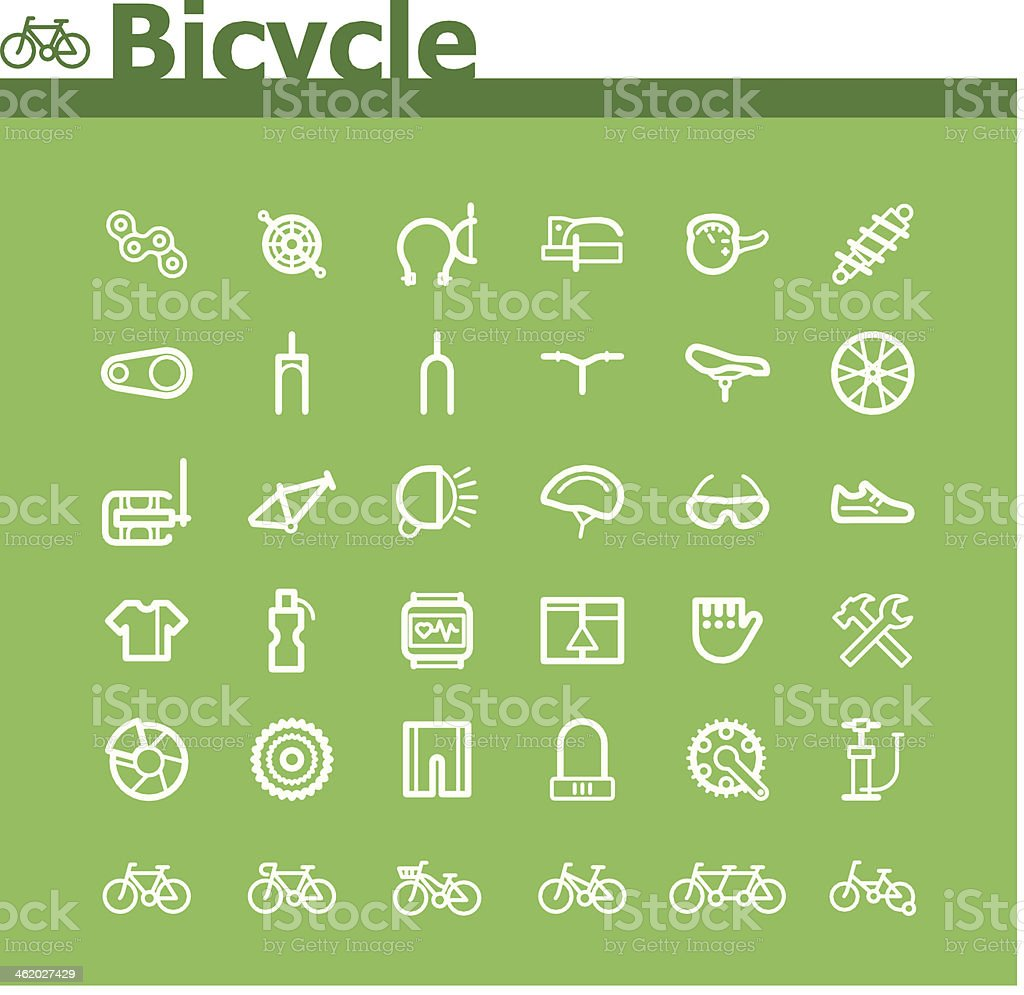 Bicycle icon set vector art illustration