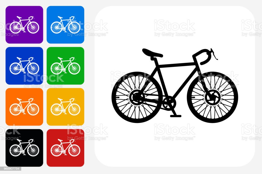 Bicycle Icon Square Button Set - Royalty-free Bicycle stock vector