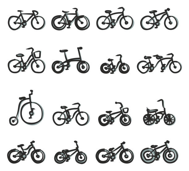 Bicycle Icons Freehand 2 Color This image is a vector illustration and can be scaled to any size without loss of resolution. cruiserweight stock illustrations