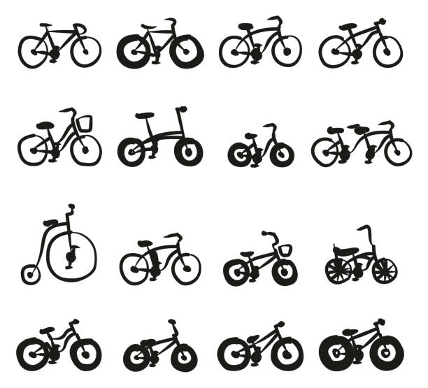 Bicycle Icons Freehand Fill This image is a vector illustration and can be scaled to any size without loss of resolution. cruiserweight stock illustrations