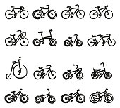 Bicycle Icons Freehand