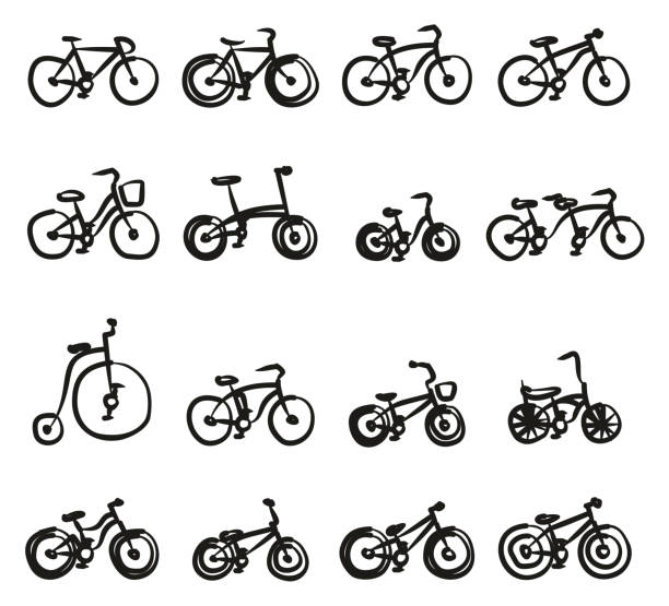 Bicycle Icons Freehand This image is a vector illustration and can be scaled to any size without loss of resolution. cruiserweight stock illustrations