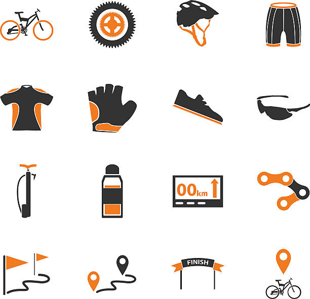 Bicycle icons set vector art illustration