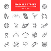 Bicycle, cycling, editable stroke, outline, icon, icons, bicycle seat, parts, equipment, gear
