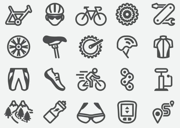 bildbanksillustrationer, clip art samt tecknat material och ikoner med cykel ikoner - cykla