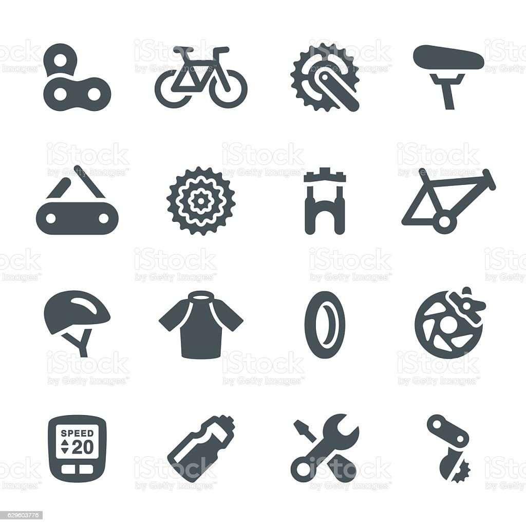 Bicycle Icons vector art illustration