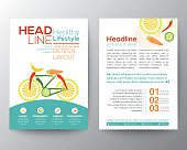 Brochure Flyer design vector template Layout with bicycle illustration made from vegetables healthy lifestyle concept