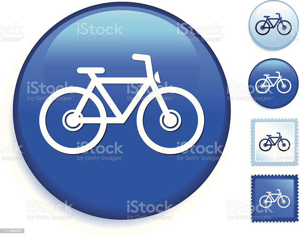 bicycle internet icon on a blue button royalty-free stock vector art