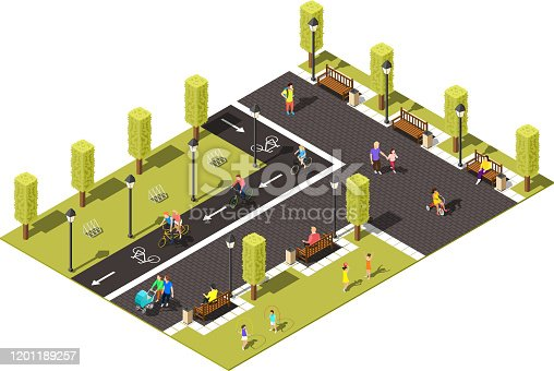 Modern town park isometric composition with  people walking with children and riding bicycle on bike path vector illustration