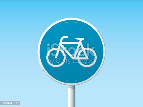 Vector Illustration of a german Road Sign in front of a clear blue sky: Bicycle Lane. All objects are on separate layers. The colors in the .eps-file are ready for print (CMYK). Transparencies used. Included files: EPS (v10) and Hi-Res JPG.