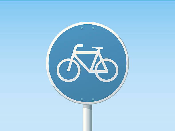 Bicycle Lane German Road Sign Blue Vector Illustration of a german Road Sign in front of a clear blue sky: Bicycle Lane. All objects are on separate layers. The colors in the .eps-file are ready for print (CMYK). Transparencies used. Included files: EPS (v10) and Hi-Res JPG. cycling stock illustrations