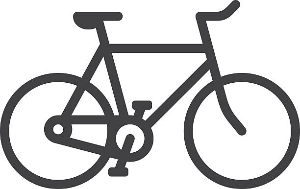 bicycle line icon - bike stock illustrations, clip art, cartoons, & icons