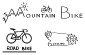 Stylized bicycle drawings and text