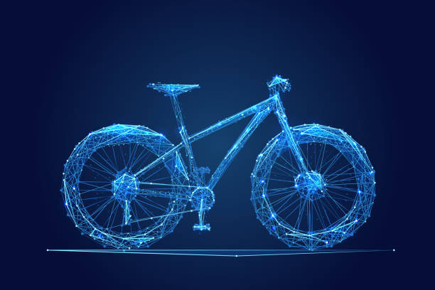 Fahrrad-low-Poly blau – Vektorgrafik
