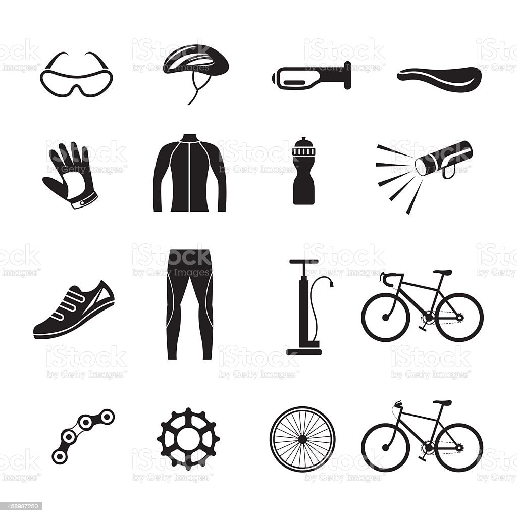 Bicycle Objects and Equipment Icons Set vector art illustration