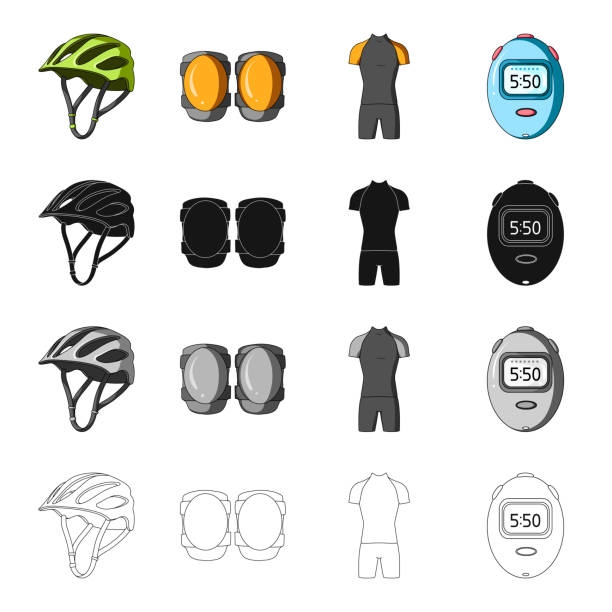 Bicycle outfit cartoon black monochrome outline icons in set collection for design. Bicycle and tool vector symbol stock web illustration. - illustrazione arte vettoriale